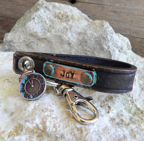 Leather Key Chain with Metal Tag-Personalized Key Chain-JOY