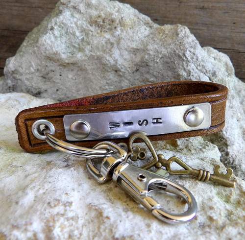 Leather Key Chain with Personalizable Metal Tag-WISH