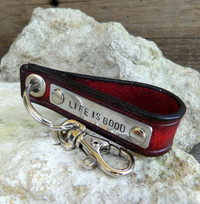 Red and Black Key Chain with Personalizable Metal Tag-LIFE IS GOOD