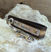 Brown Leather Key Chain-Personalizable Gift-BREATHE