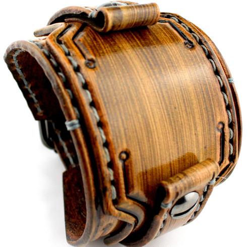Striped Brown Custom Leather Watch Cuff
