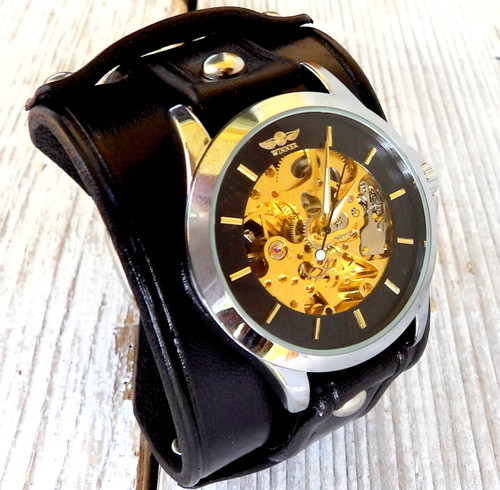 Black Leather Watch Cuff with Steampunk Watch