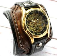 Gold Steampunk Leather Cuff Watch