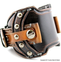 Medieval Custom Leather Watch Cuff, Custom Watch Cuff for your OWN Watch