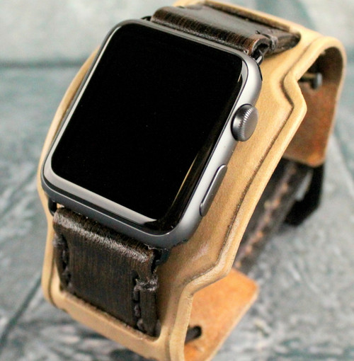 Brown Leather Watch Strap for Apple Watch-Two Toned-Throttle2