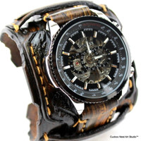 Vintage Brown Personalizable Steampunk Leather Cuff Watch