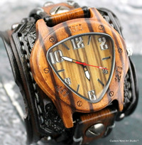 Burnt looking leather cuff with wooden watch