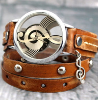 Distressed brown Music Watch with Violin key charm