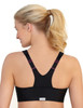 Glamorise Magic-Lift High Impact Zipper Sport Bra Black - Back View