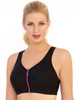 Glamorise Magic-Lift High Impact Zipper Sport Bra Black