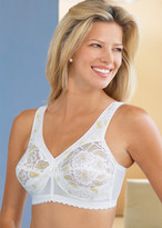 Glamorise Magic-Lift Lace Embroidery Full-Figure Wirefree Support Bra White