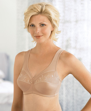 Glamorise Magic-Lift Embroidered Full-Figure Wirefree Support Bra Cafe
