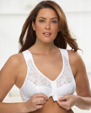 Glamorise Soft-Shoulders Back Support Front-Close T-Back Bra White