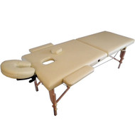 Sivan Health and Fitness HEALTH & FITNESS Three Fold Reiki Portable Massage Table and Carrying Case, Beige