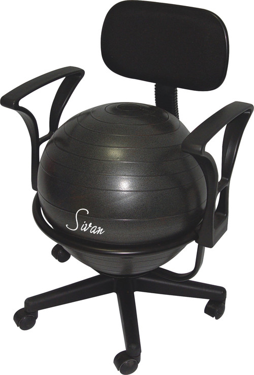 Image 1  sc 1 st  Sivan Health and Fitness & Sivan Health and Fitness Adjustable Back Balance Ball Chair with Arm ...