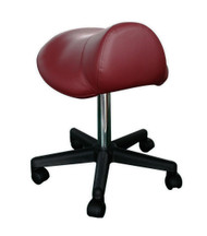 Sivan Health and Fitness Rolling Saddle Massage Stool with Hydraulic Adjustable Controls (Burgundy)