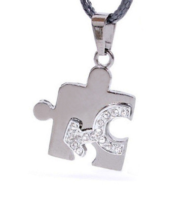 Male CZ Bling Puzzle Steel & Mars Symbol Men's Gay Pride Pendant - Gay Pride Necklace