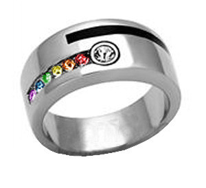 Male Engagement Gay Marriage Ring Band For Men Rainbow Stripe