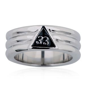 Freemason Ring / Masonic Ring - 33rd Degree Grooved Band (Steel) for Masons