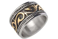 Gold & Silver Tribal Ring - Stainless Steel (14.5mm) w/ 14k Gold Design