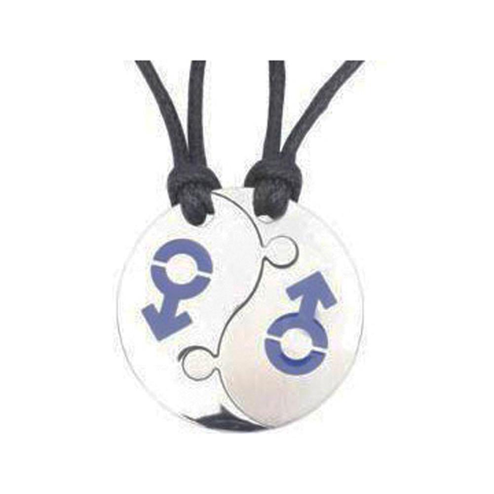 Image of 2pc Set Break Apart Double Male Mars (BLUE) Yin Yang Pendants LGBT Gay Pride Jewelry Set Necklaces