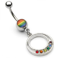 Rainbow Pride Round Epoxy Belly Ring - Gay and Lesbian Pride Navel / Belly Ring (Body Jewelry)