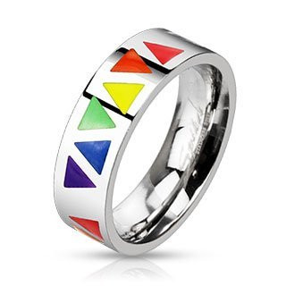 Image of Rainbow Smooth Triangles Ring Gay ∧ Lesbian Pride Rainbow Items from Reinhardt Depot