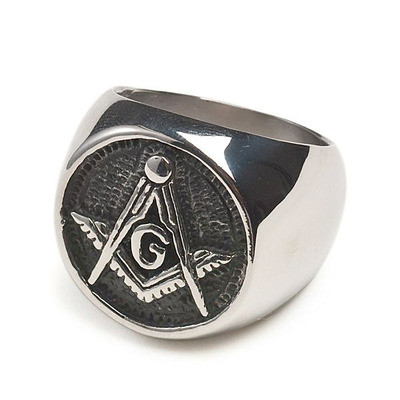 Freemason Ring / Masonic Rings - Chiseled Enamel and Steel Band for Masons