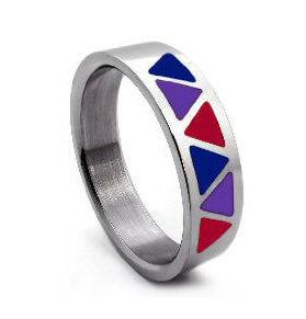 Bi Pride Triangle Flag Steel Ring - Bisexual LGBT Pride Jewelry