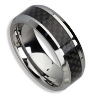 Men's Tungsten Ring (Black Carbon Fiber Inlay 8MM band)