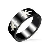 Marijuana Pot Leaf - Black Steel Ring w/ White Leaves (420 / Hemp)