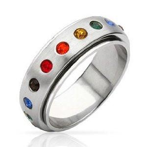 Mens Spinner Wedding Band 80 Good Rainbow Spinner Ring Gay