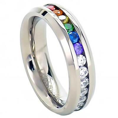 Full Clear Rainbow String Lesbian Gay Engagment Wedding Ring