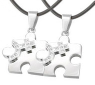 2pc Bling Set - Female CZ Puzzle Steel & Venus Symbol Pendants - Lesbian Pride Jewelry Set Necklaces - Lesbian Couples