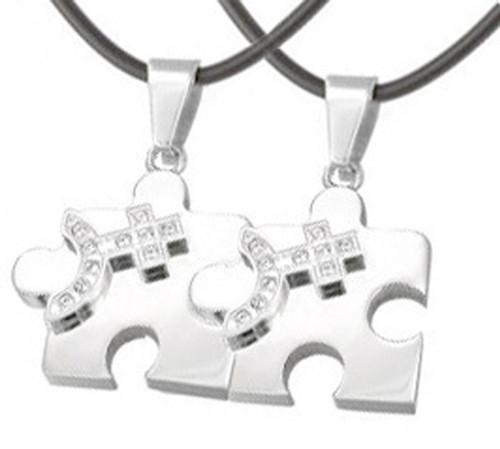 2pc Bling Set Female Cz Puzzle Steel Venus Symbol Pendants