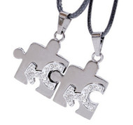 2pc Bling Set - Male CZ Puzzle Steel & Mars Symbol Pendants - Men's Gay Pride Jewelry Set Necklaces