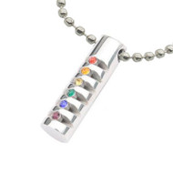 Rainbow Grooved Cylinder CZ Pendant - Gay and Lesbian LGBT Pride Necklace