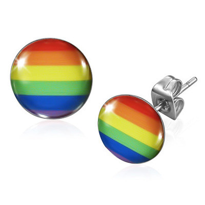 Image of Rainbow Flag LGBT Gay and Lesbian Pride Earrings (Round) Gay earring Set