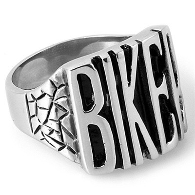 Image of Biker Ring Stainless Steel Motorcycle Band w/ Biker text