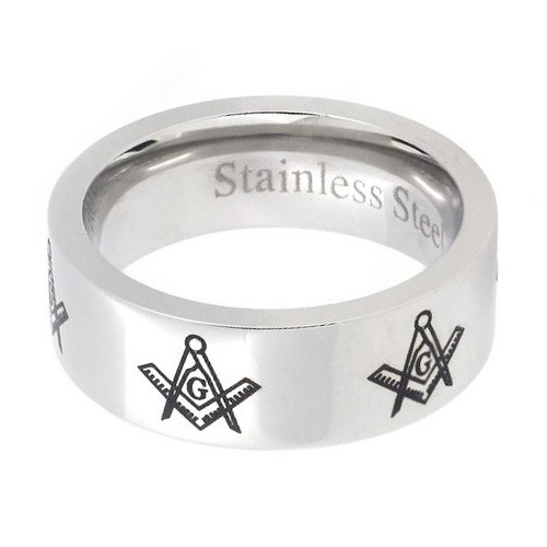 Mason Silver Color and Black Enamel Simple Band - Freemason Ring / Masonic Ring