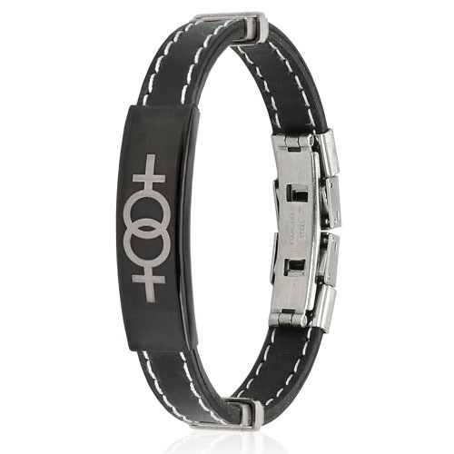 Image of Double Female Symbol Steel Plate Stitch Accent Black Rubber Wristlet LGBT Lesbian Pride Bracelets