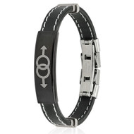 Double Male Symbol Steel Plate Stitch Accent Black Rubber Wristlet - GLBT Men's Gay Pride Bracelets