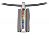 Black Steel Gated Rainbow CZ Pendant - LGBT Jewelry - Gay and Lesbian Pride Necklace
