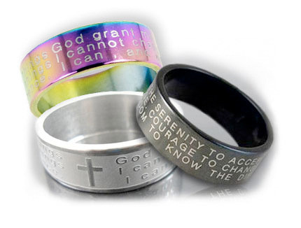 Serenity Prayer Rings - God grant me the serenity - Steel Rings