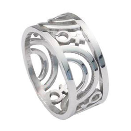 Venus Female Symbol Carved Ring Steel Lesbian Rings Pride Shack