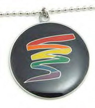 Black Gay Pride Round Circle Pendant w/ Rainbow Squiggle - LGBT Gay and Lesbian Pride Necklace
