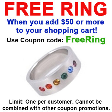 Image of FREE with $50 or more! Coupon Code: FREERING Get (1) Single Line CZ Half Rainbow Ring Gay ∧ Lesbian LGBT Pride