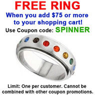 FREE with $75 or more - Use coupon code: SPINNER - Rainbow Spinner Ring - Gay & Lesbian Pride Stainless Steel Ring w/ CZ Stones