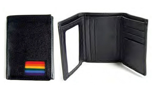 Image of (Rainbow Square Flag Design) Black Leather Trifold Wallet Gay Pride LGBT Lesbian Pride Gifts ∧ Money Holders