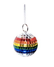 Mini Gay Pride Rainbow Disco Ball (Car Rear View Mirror OR Ornament) - LGBT Gay & Lesbian Pride Accessories